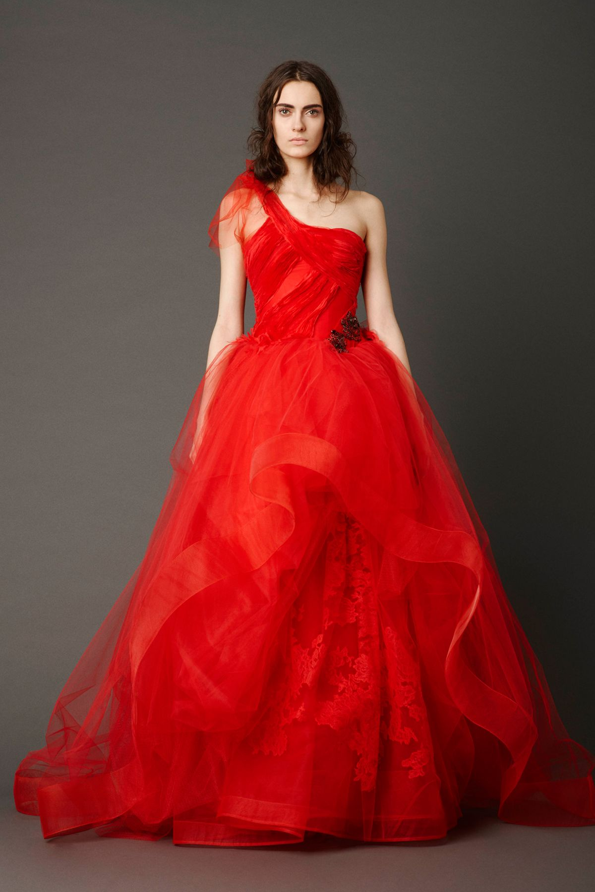 Vera wang ball gown wedding dress  Cardinal oneshoulder ballgown with sheared flange bodice and