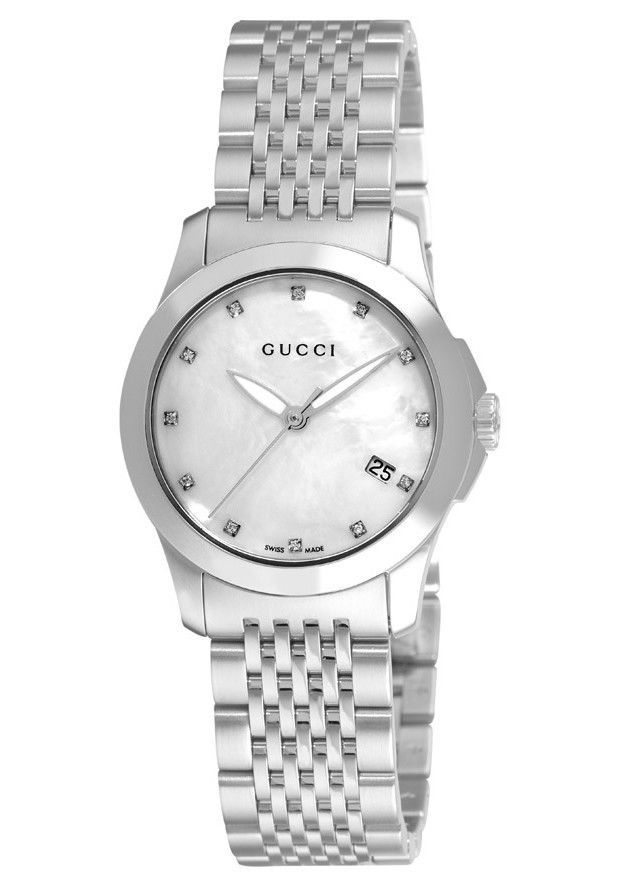 ec89149384c Gucci G Timeless Diamond Accented Mother of Pearl Dial Ladies Watch  (YA126504)