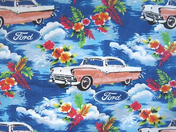 Ford Old Auto Flannel Fabric Hawaiian Flowers Cotton Flannel