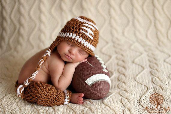 Baby Boy Hat FOOTBALL Newborn Baby Boy Crochet Football Hat With Ear Flaps and pants Pant Set