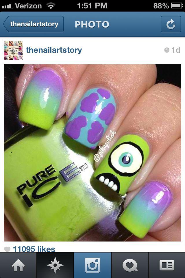 Cute monsters inc nails | Monsters Inc. Nails | Pinterest | Arte