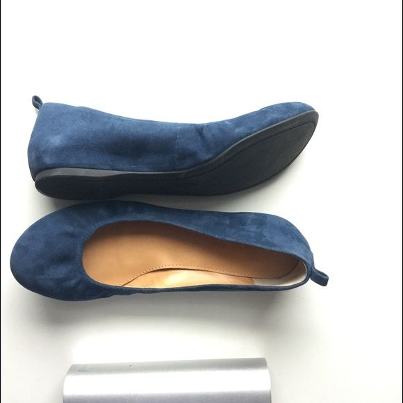 "🎼1 DAY SALE! Infamous Blue Suede Shoes🎼 Worn once! Extremely comfortable, genuine suede, no-slide rubber sole and the best part... Drum role please... There's a hidden wedge ~1/4"" which helps to avoid lower back soreness when worn all day.  I wore these out of Nordstrom (after paying of course) and realized they were just a little too big though they run true to size. * $59 Audrey Brooke Shoes Flats & Loafers"