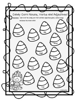 Candy Corn Nouns Verbs And Adjectives Halloween Color Sorting Worksheet Nouns Verbs Adjectives Adjectives Nouns And Verbs