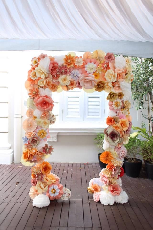 Handmade Paper Flower Wedding Arch Outdoor Wedding Decor Wedding