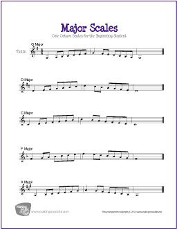 Major Scales For Violin One Octave Scales For The Beginning