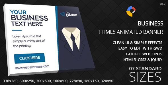 Business html5 ad banners banners ads and template business html5 ad banners designed with google web designer and provided 9 popular used sizes in the market onlinemarketing promotional business reheart Gallery