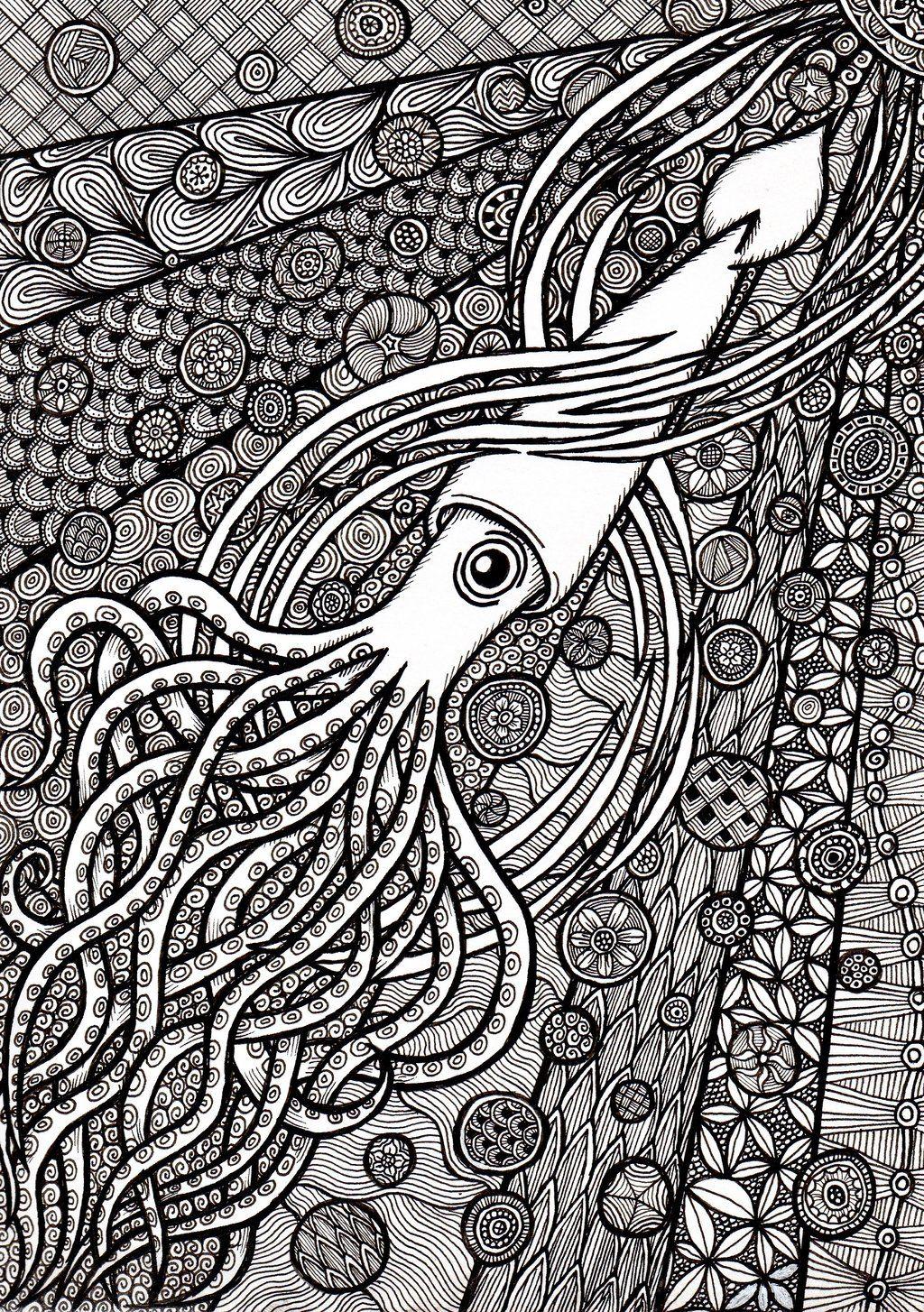 Zentangle Squid Por Ambercamiart Coloring Pages Sharpie Art Zen Colors [ 1454 x 1024 Pixel ]