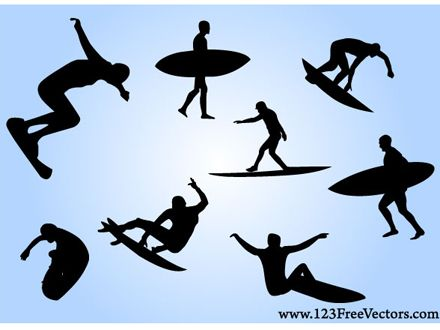 Free Surf Vectors With Images Surfing Silhouette Art