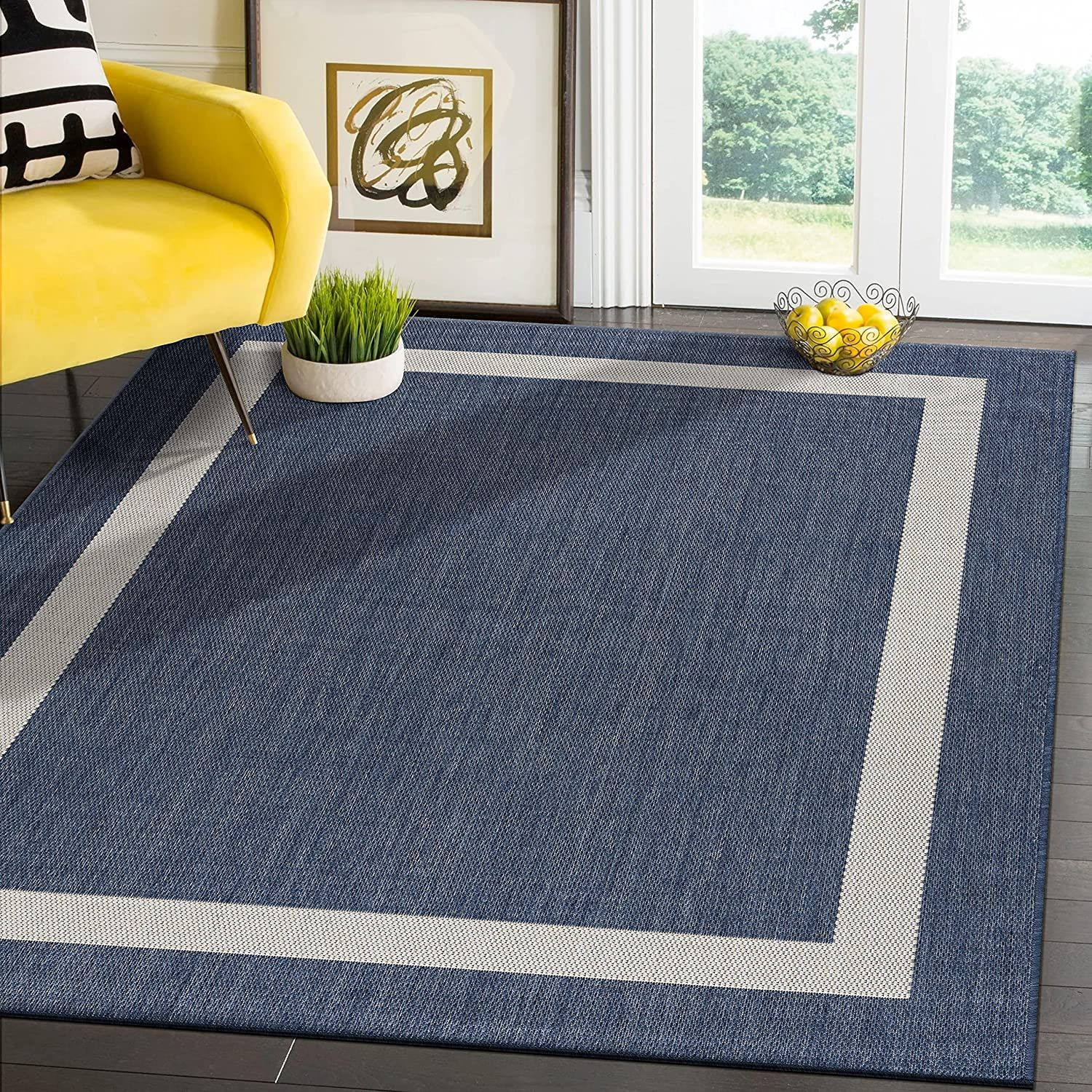 Modern Area Rugs for Indoor/ Outdoor Bordered   Blue / White   6x9 Gallery