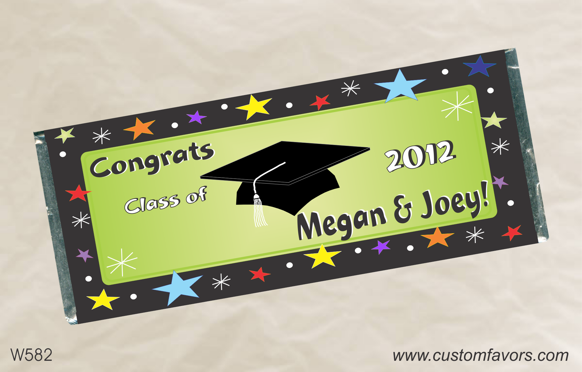 Graduation party favors - personalized candy bar wrappers from www.customfavors.com. #graduation #grad #customchocolate #chocolate