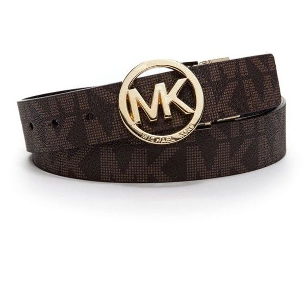 009eb4e3c795 Michael Kors Chocolateblack Reversible Logo Buckle Belt ( 48) ❤ liked on  Polyvore featuring accessories