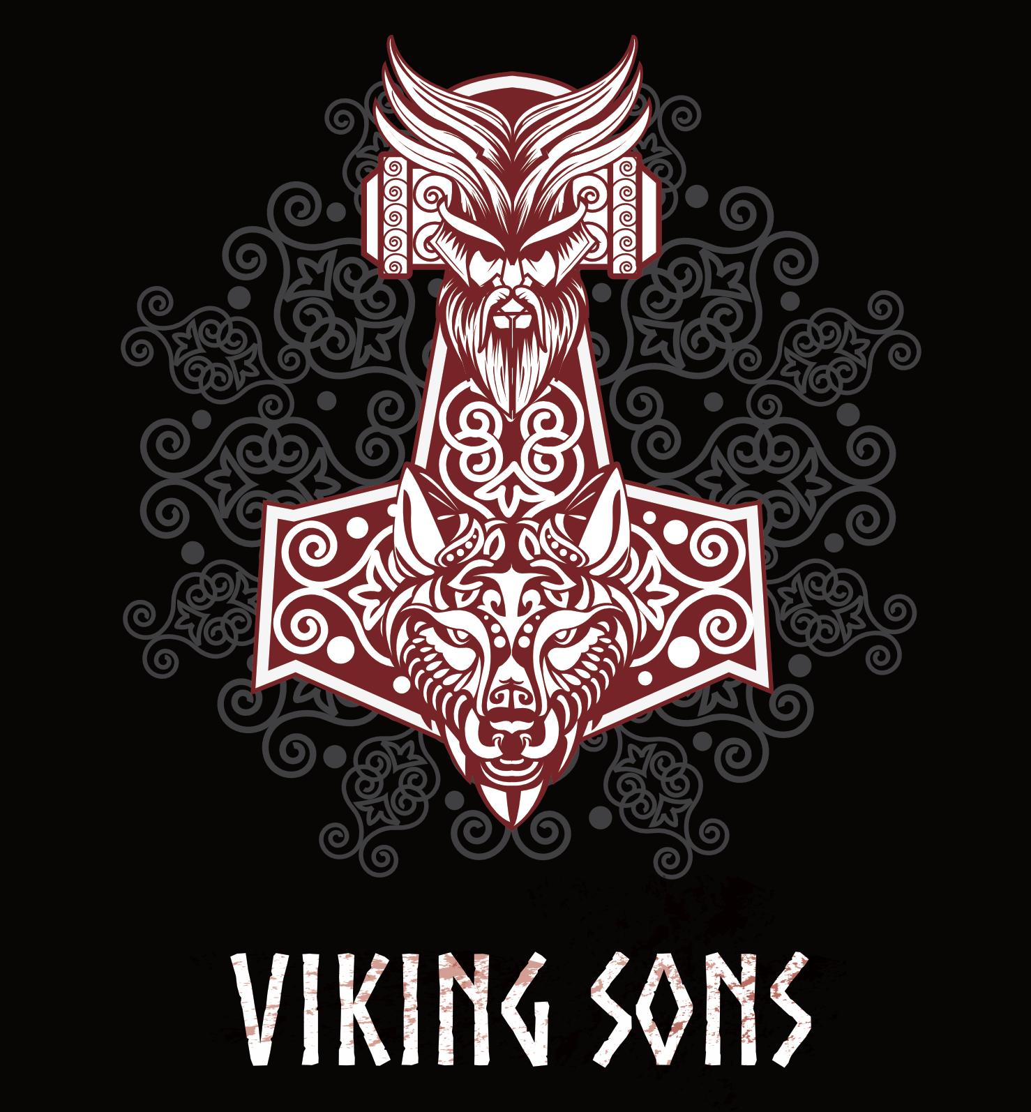 thorhammer mit odin und fenriswolfskopf viking symbols. Black Bedroom Furniture Sets. Home Design Ideas