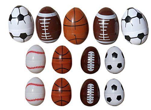 13 Fillable Sports Plastic Easter Eggs Basketball Football Baseball Soccer 5 Large8 Small Easter Basket Themes Football And Basketball Sports Games For Kids