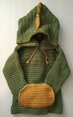 Dino/ Dinosaur Hooded Sweater with Spikes pattern by Katerina Cohee