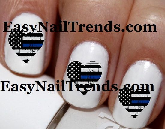 Line Art Nails : Pc thin blue line heart police love cop i my