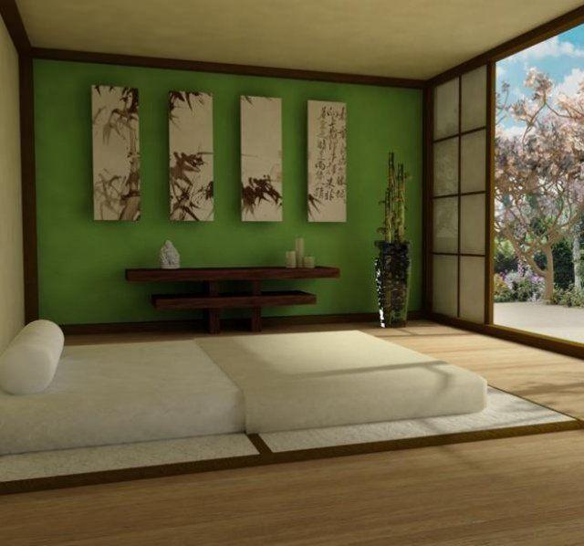 chambre zen futon paneaux-mur-vert-porte-coulissante | Chambre ...