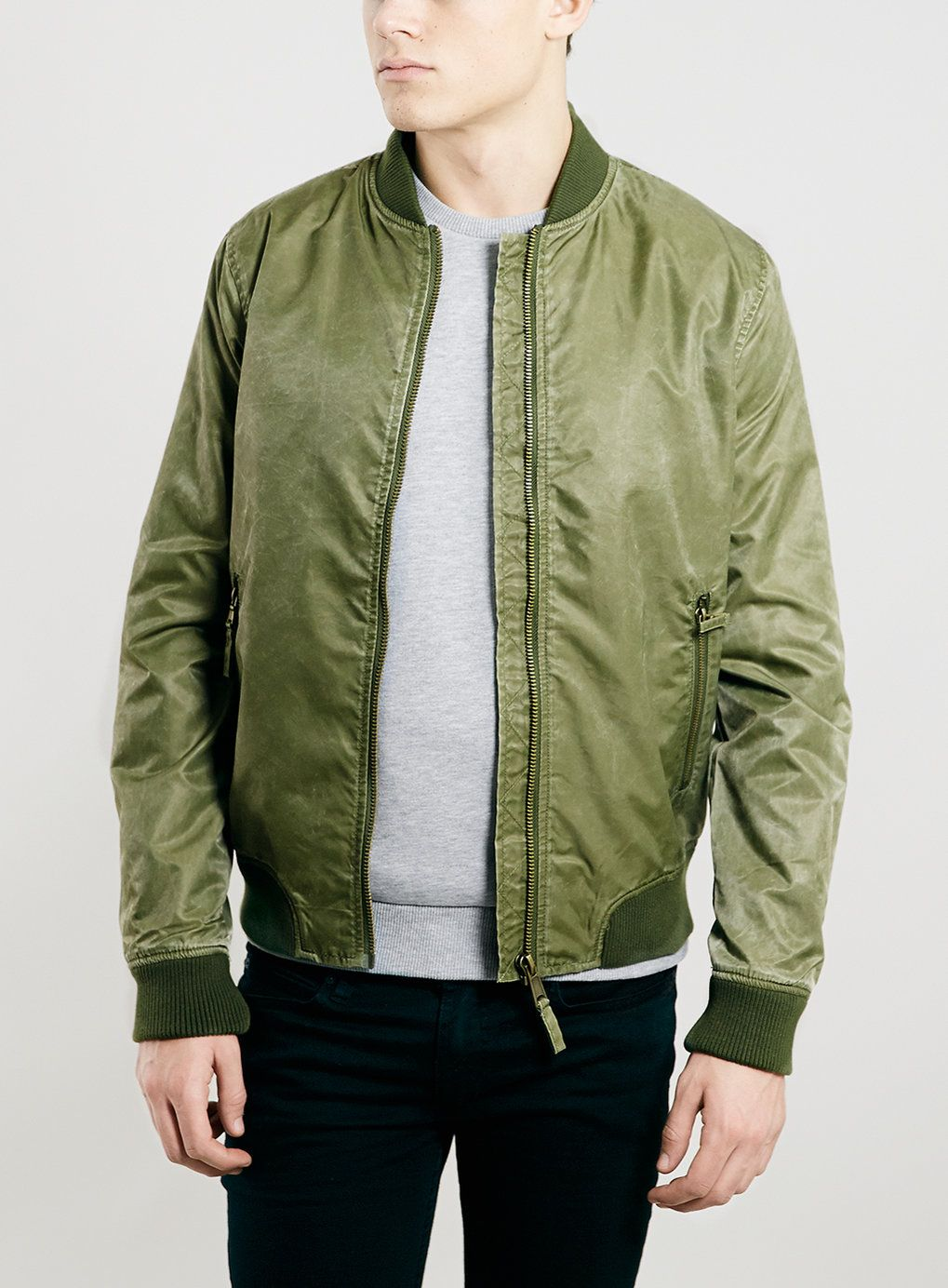 KHAKI BRUSHED BOMBER JACKET - New In- TOPMAN | SPR 2016 - The ...