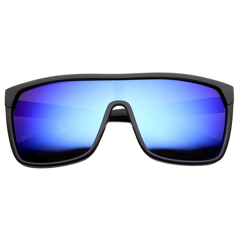 56f61ed1f91 Large Shield Futuristic Styling Mirror Lens Sunglasses - Black Ice ...