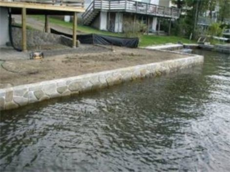 Lake Front Concrete Retaining Walls