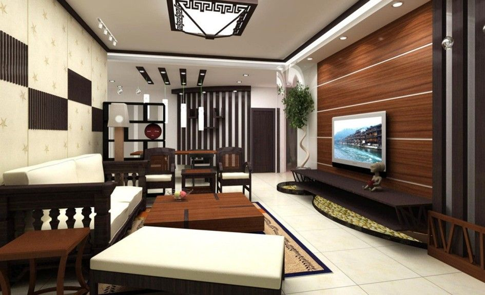 Living Room Luxurious Interior Featuring TV With Wooden Panelling Dark Cabinet Red Side
