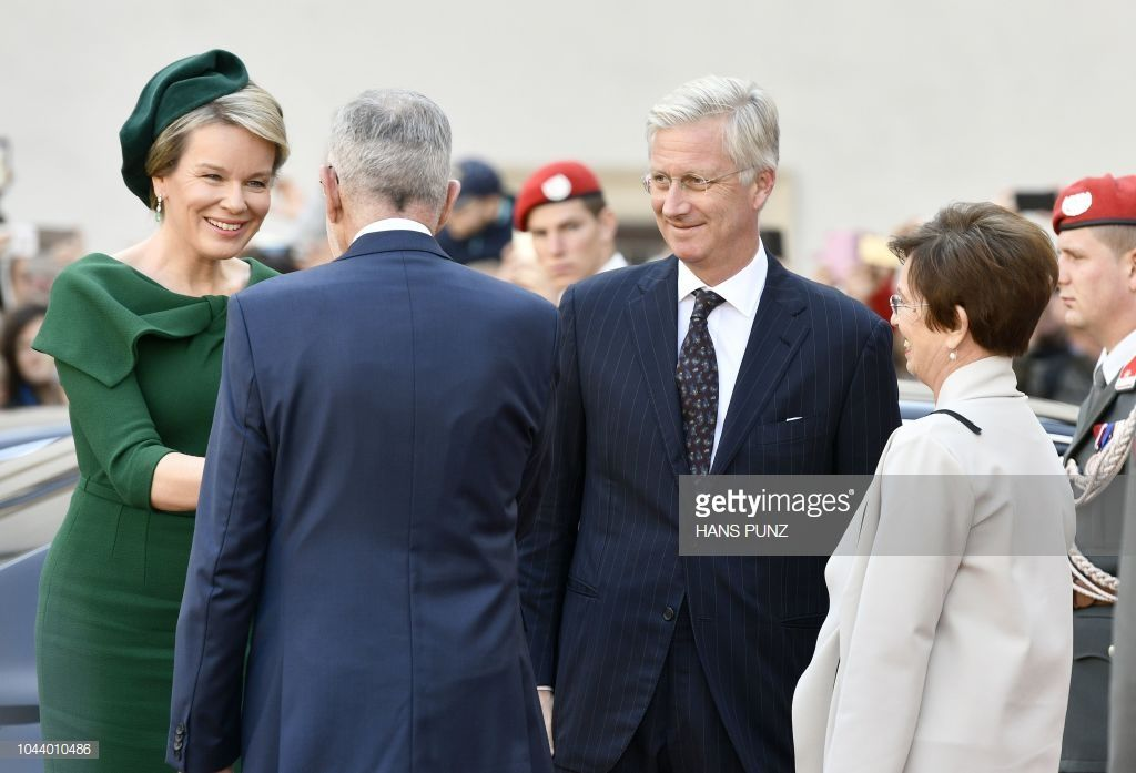 Queen Mathilde And King Philippe Of Belgium Are Greeted By