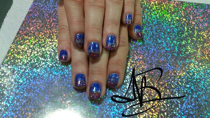 Glitter 4th of July nailart