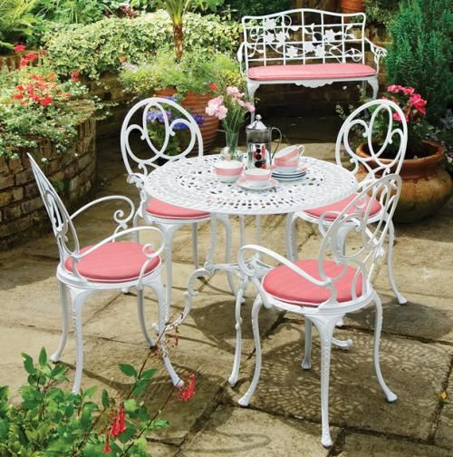 Elegant Cly Cast Aluminum Outdoor Furniture White And Pink Aluminium Garden Exterior