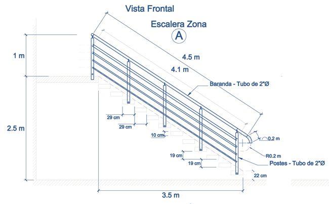 Baranda de escalera con tubo redondo plano tablas for Plano escalera madera