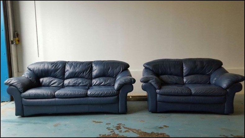 Blue Italian Leather Sofa