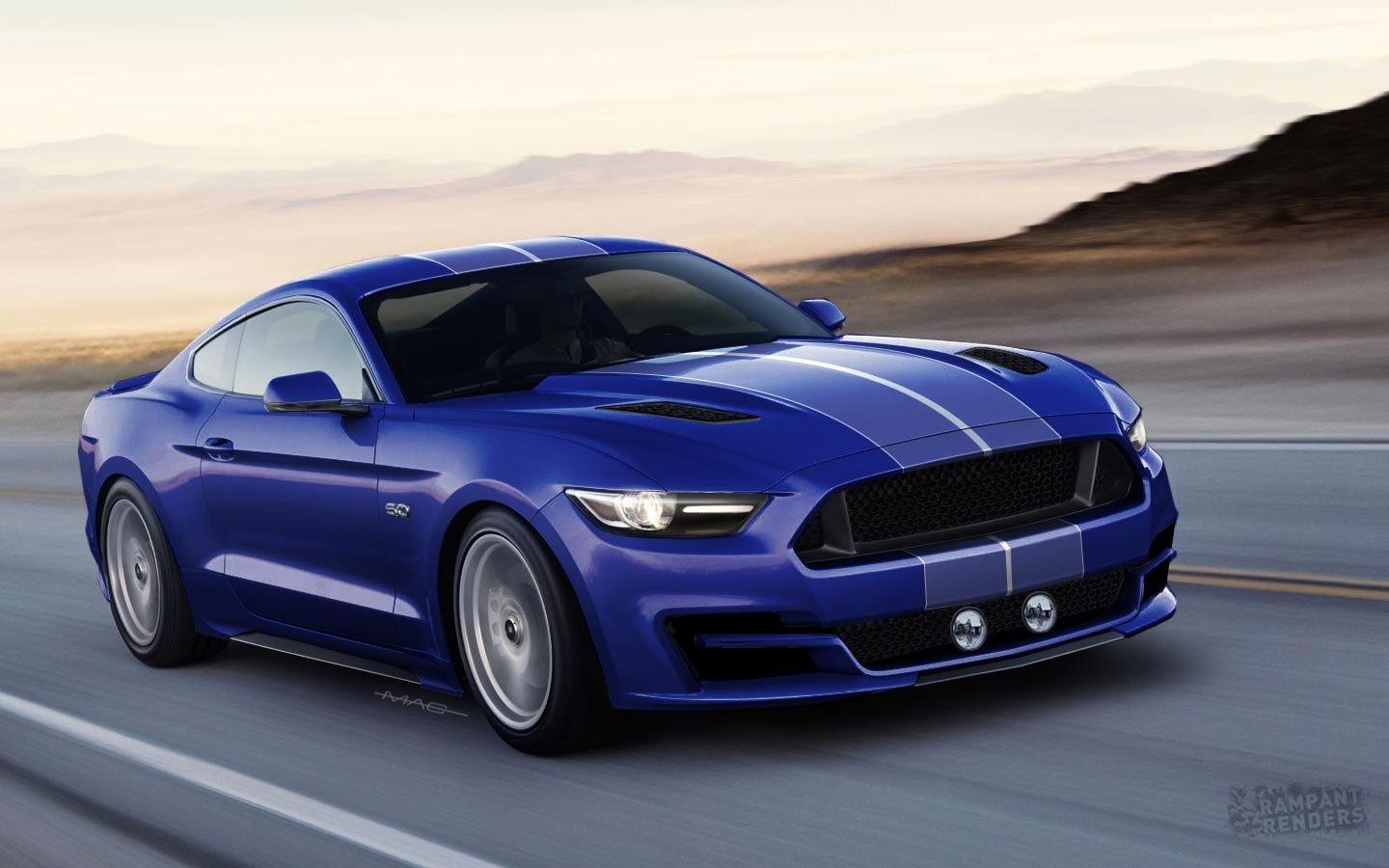 2015 ford mustang rendered with slightly different face rear
