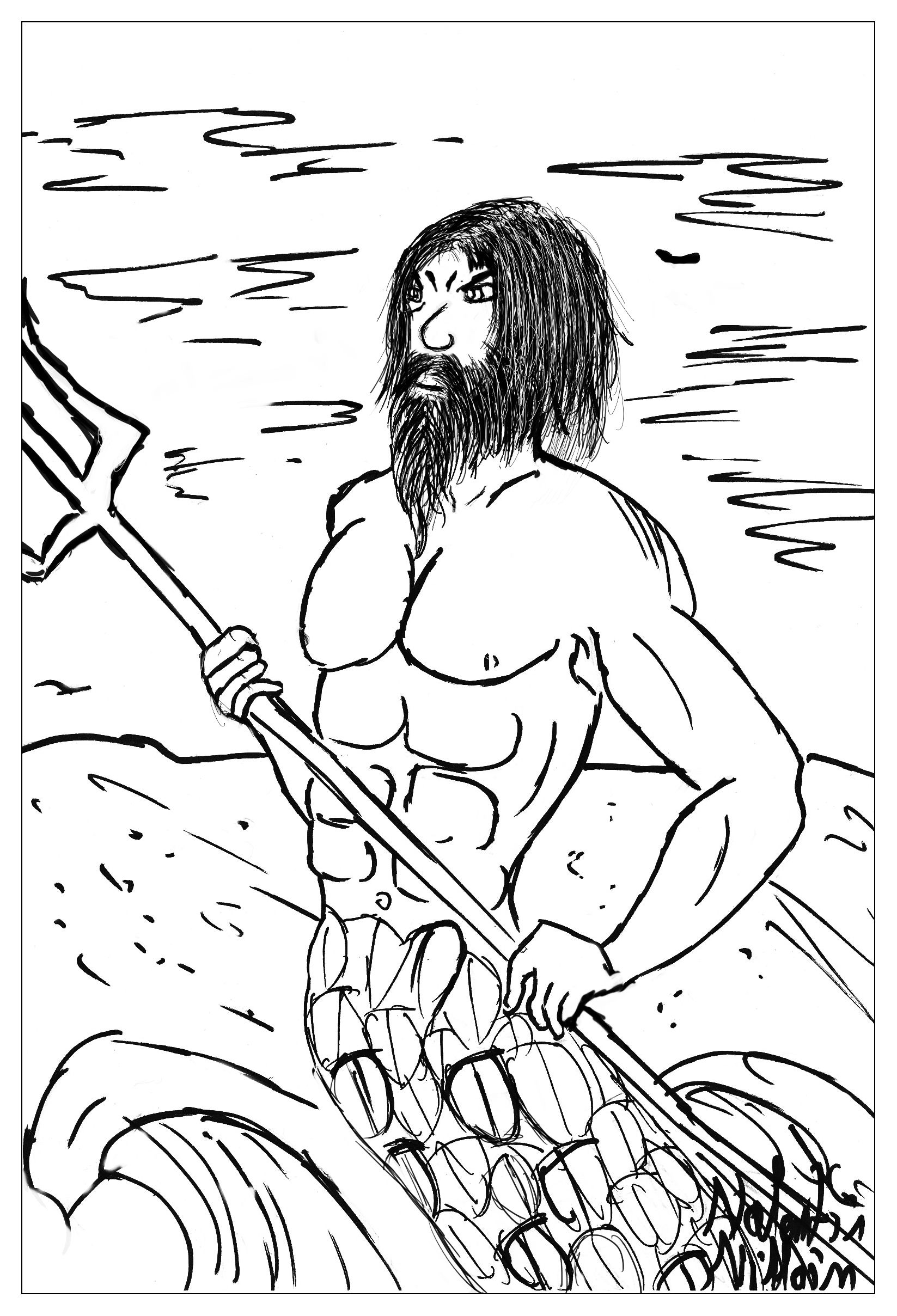 Poseidon The God Of Sea And Ocean In A Coloring Page From The