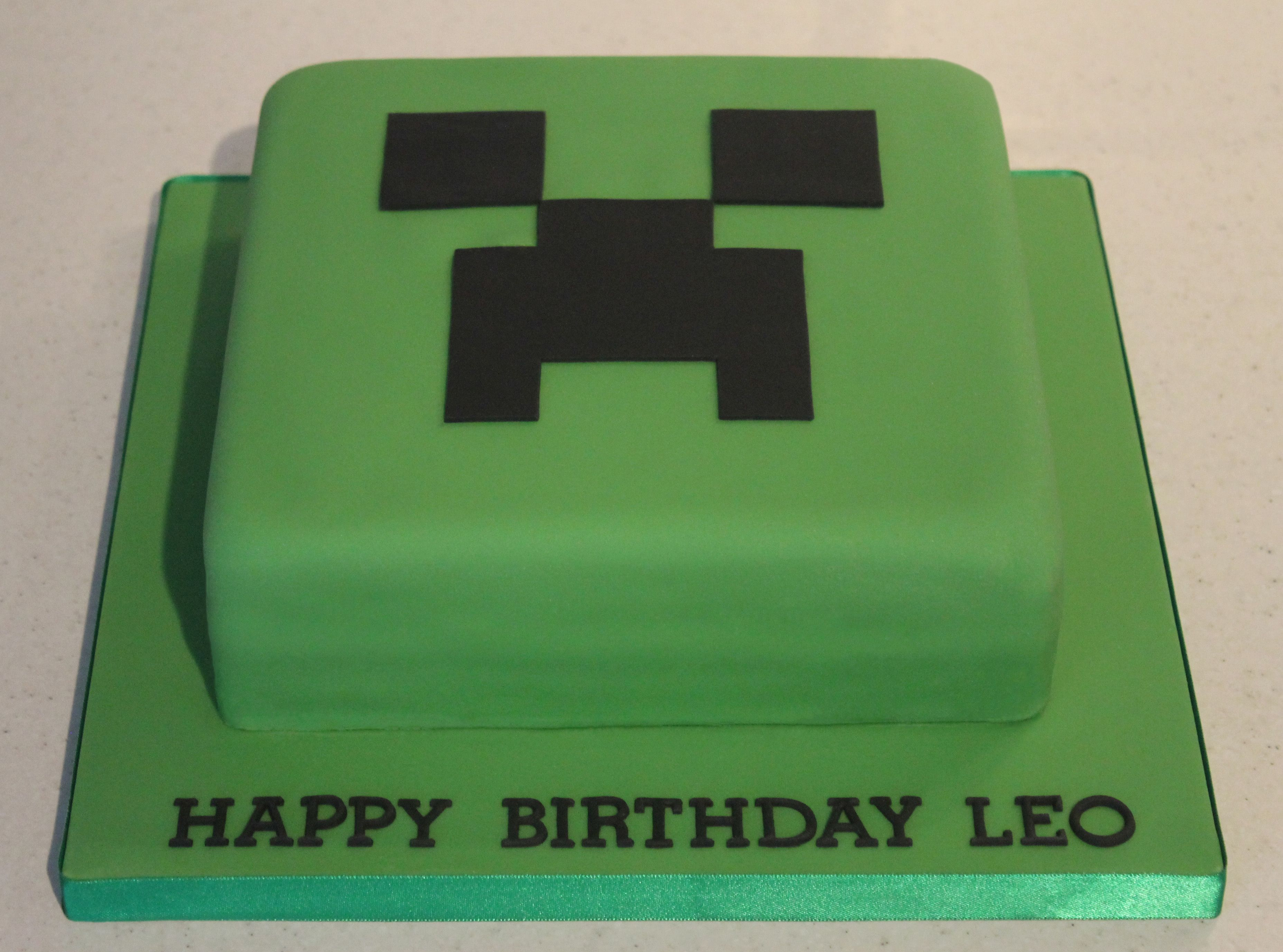Stupendous Minecraft Creeper Cake With Images Happy Birthday Leo Creeper Personalised Birthday Cards Paralily Jamesorg