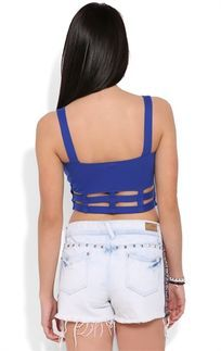 Royal Blue Crop Tank Top with Cutout Cage Bottom