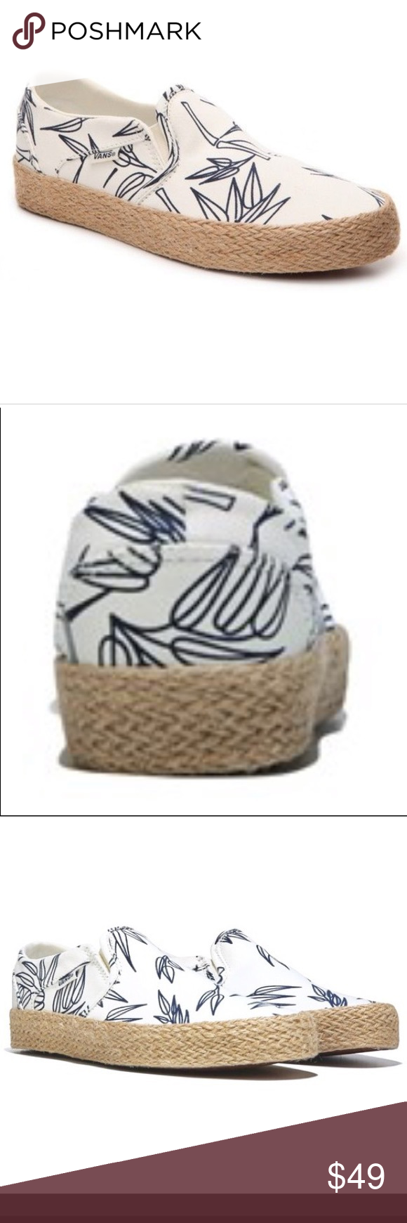 1a8aef29d4 Women s Vans asher bamboo espadrilles slip ons Women s size 9 but I  honestly think they fit more like a ten I can take measurements and will be  adding extra ...
