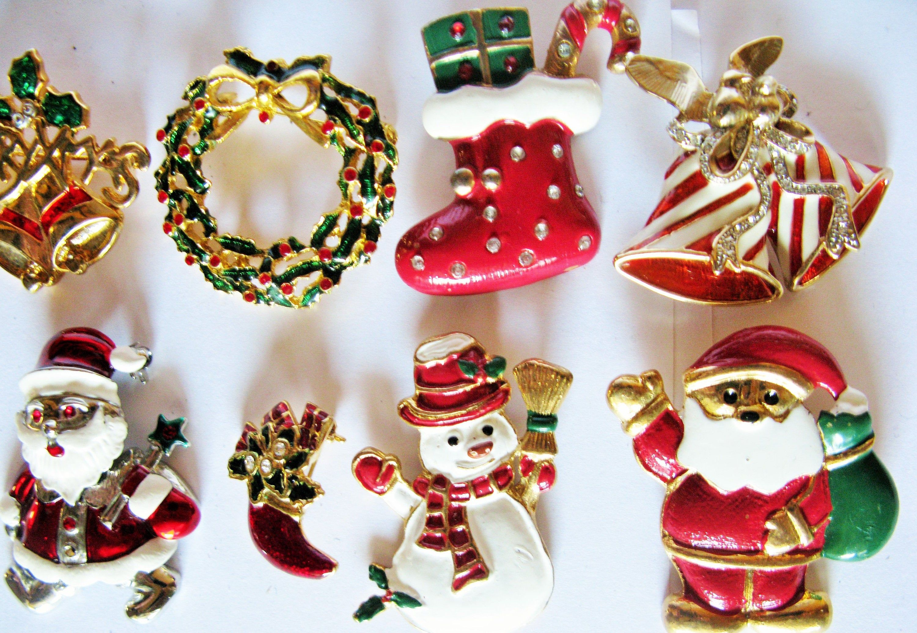 Sold Enamel Christmas Brooches Pins Snowman Bells Wreath Etsy Old Jewelry Father Xmas Christmas Jewelry