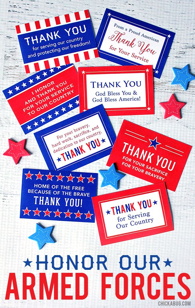 Free Printable Honor Our Armed Forces Cards Chickabug