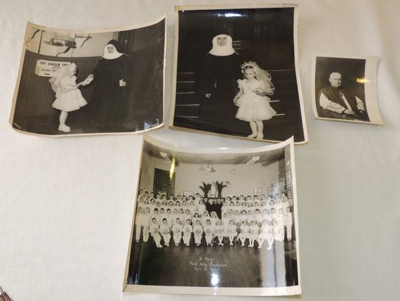 Lot of 4 Vintage Black And White Christian by ALadiesPerspective, $18.99 #Nun #Priest #HolyCommunion #Communion #StMarysChurch #Church