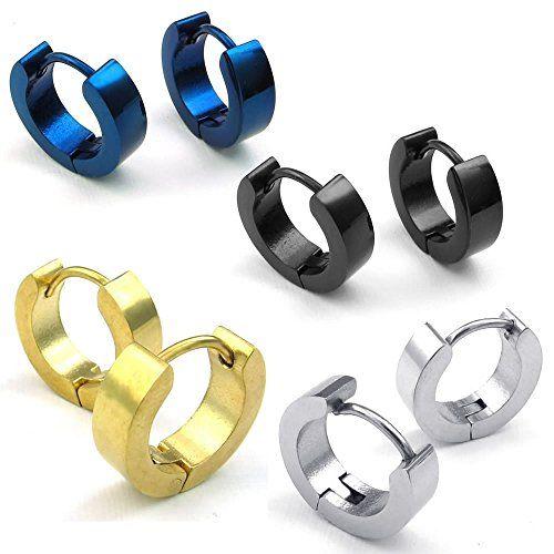 Pair Stainless Steel Plain Huggie Hinged Hoop Earrings Unisex Mens Womens