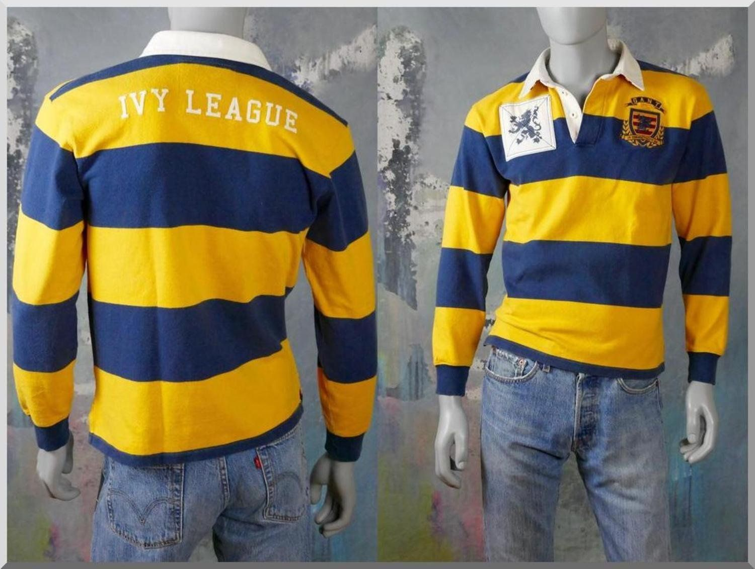 1980s Rugby Shirt American Vintage Long Sleeve Blue Yellow Etsy American Shirts Rugby Shirt Vintage Clothing Men
