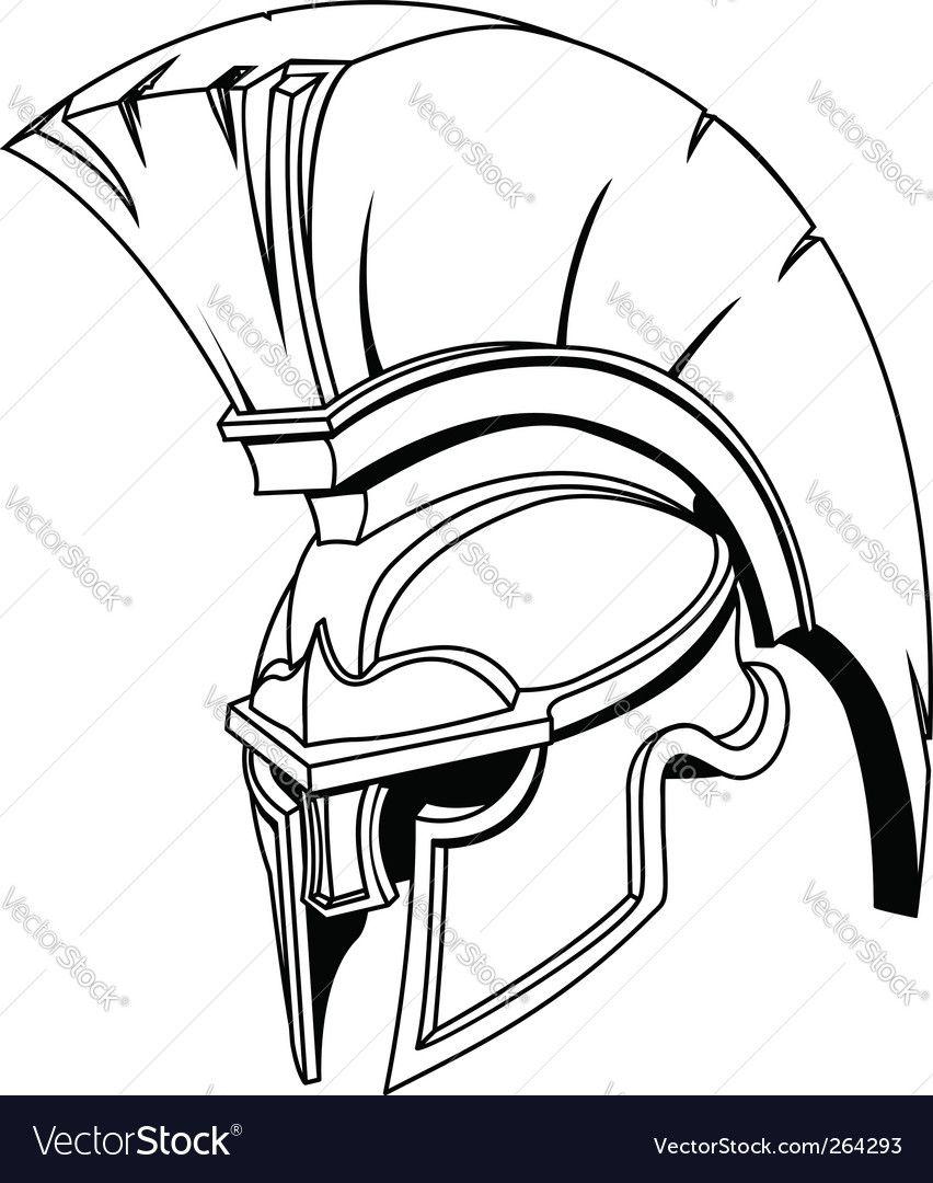 Roman Gladiator Helmet Royalty Free Vector Image Sponsored Helmet Gladiator Roman Royalty Ad Spartan Helmet Tattoo Helmet Drawing Gladiator Helmet