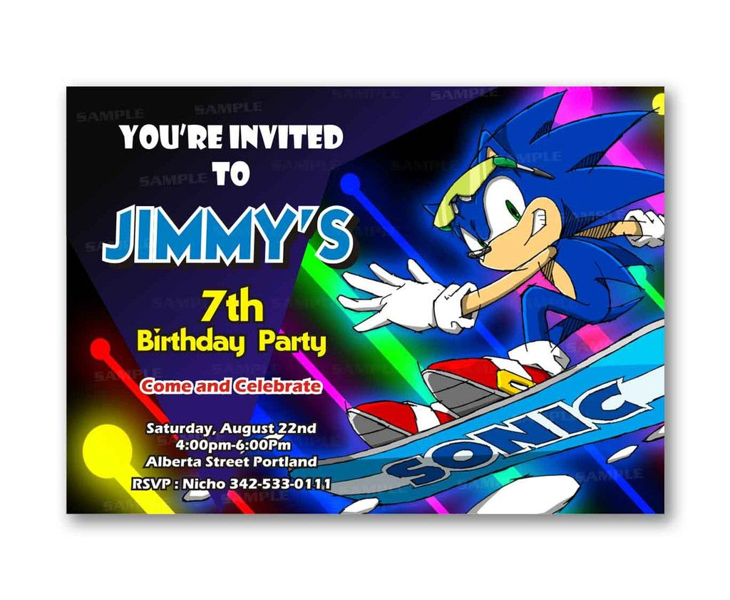 Sonic the hedgehog glow colorful games kids birthday invitation sonic the hedgehog glow colorful games kids birthday invitation party design filmwisefo