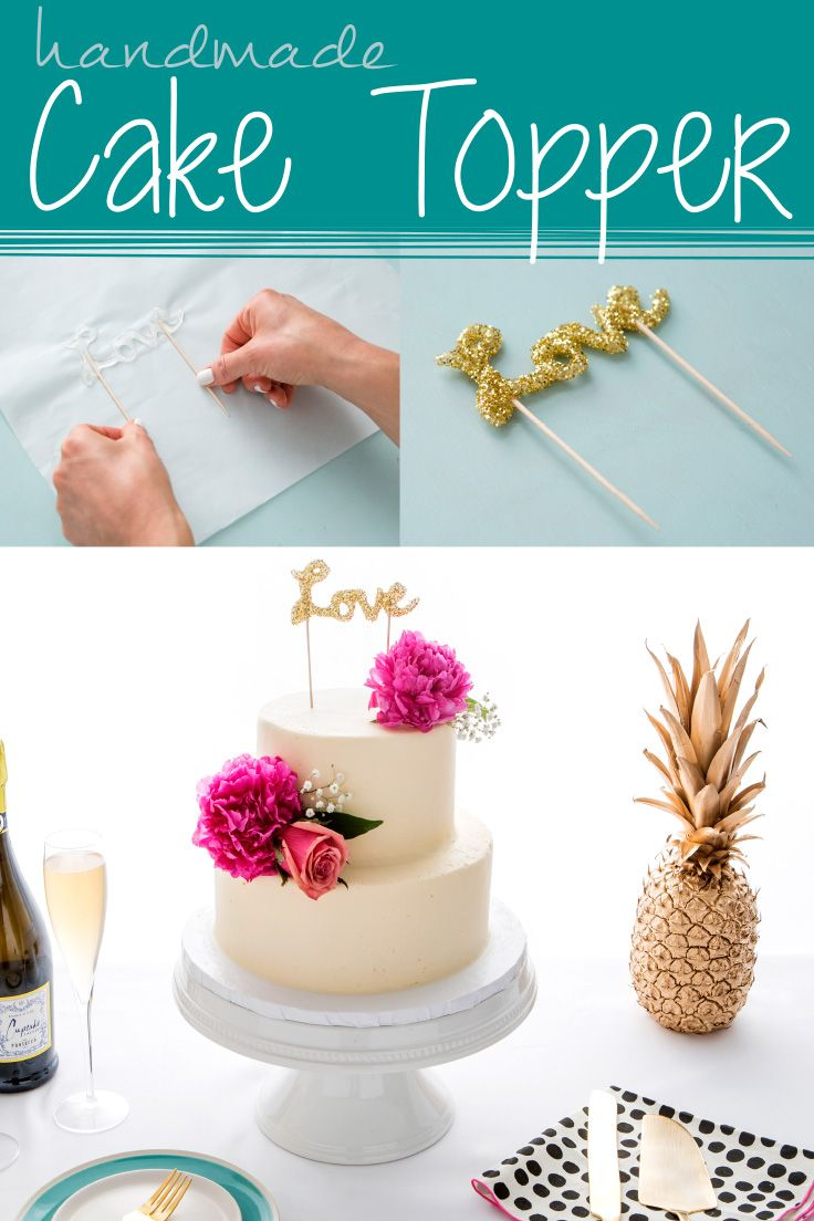 Handmade Cake Topper Using Hot Glue Make DIY Decor For Weddings Parties And Holidays Glitter Parchment Paper Toothpicks Elmers New