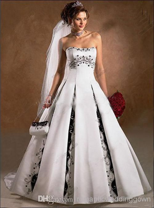 90564402218 Wholesale - A-line Strapless Court Train Satin Embroidery Sleeveless White  Black Church Wedding Dress Lace Back Online with  138.7 Piece on ...