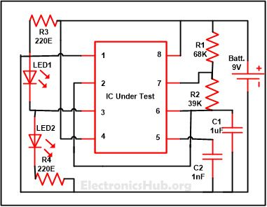 555 Timer IC Testing Circuit and Its Working | Mini Projects