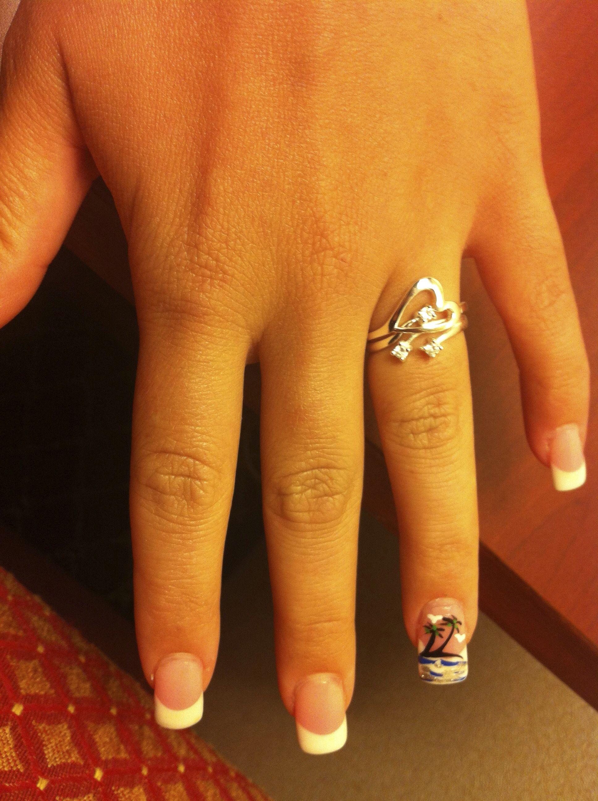 Permanent French nails with Palm tree design. cs | nail designs ...
