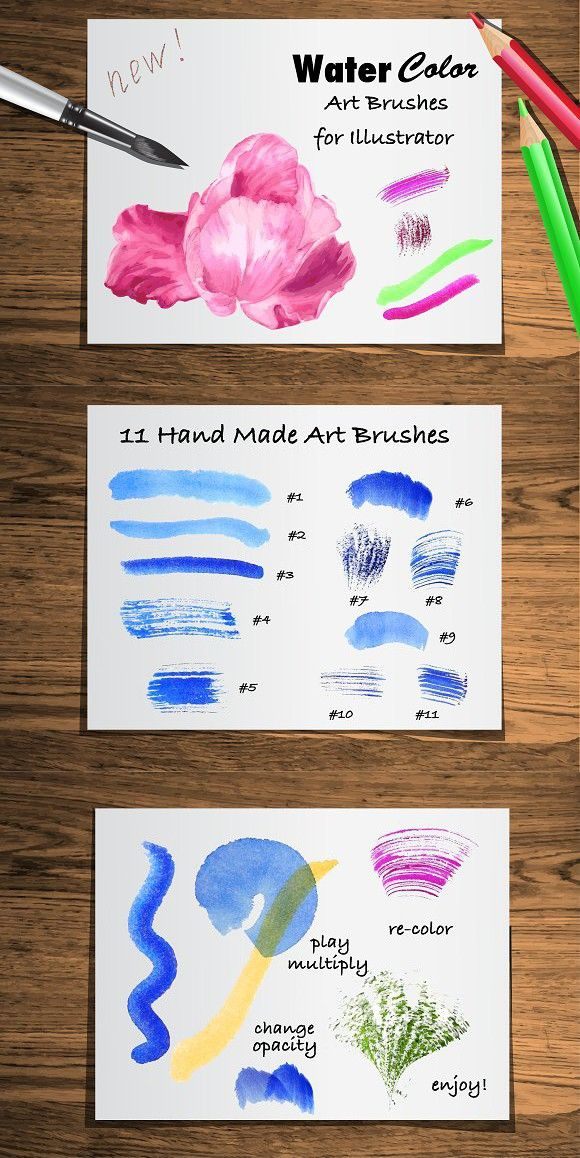 Set Watercolor Brushes For Ai Brushes Brushes Watercolor