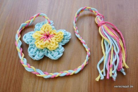 Häkeln-gehäkelte-Lesezeichen-Blume-bunt-geflochten-einfach | DIY ...