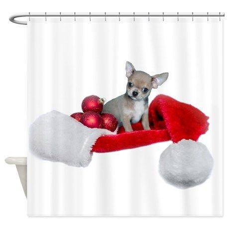 Christmas Chihuahua Dog Shower Curtain By Ritmoboxerdesigns Dog