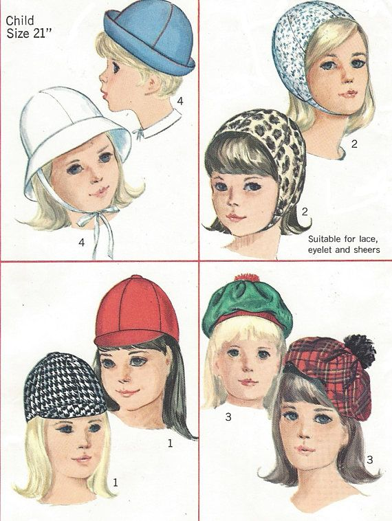 1960s Childs and Girls Set of Hats Jockey Hat, Beret, Snood, Brimmed ...
