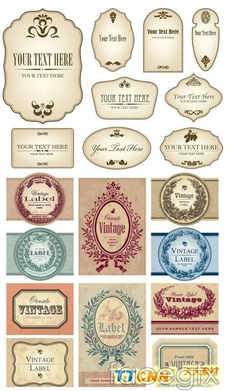 European Retro Bottle Stickers Vector Design Vintage Labels Labels Printables Free Bottle Stickers